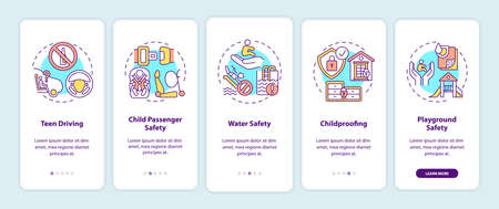 Safety environment for children onboarding mobile app page screen with concepts. Kid trauma prevention walkthrough 5 steps graphic instructions. UI vector template with RGB color illustrations Illustration