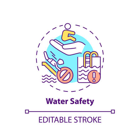 Water safety concept icon. Drowning prevention. Children rescue. Caution for danger. Child safety idea thin line illustration. Vector isolated outline RGB color drawing. Editable stroke
