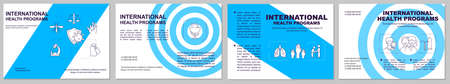 Health programs brochure template. Improving health policy. Flyer, booklet, leaflet print, cover design with linear icons. Vector layouts for magazines, annual reports, advertising posters