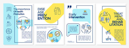 Health promotion brochure template. Rehab, early intervention. Flyer, booklet, leaflet print, cover design with linear icons. Vector layouts for magazines, annual reports, advertising posters