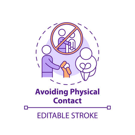 Avoiding physical contact concept icon. Sign of domestic violence. Symptom of abuse in children. Child safety idea thin line illustration. Vector isolated outline RGB color drawing. Editable stroke