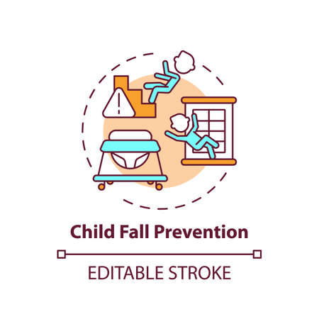Child fall prevention concept icon. Kid trauma and injury precaution. Children protection. Child safety idea thin line illustration. Vector isolated outline RGB color drawing. Editable stroke