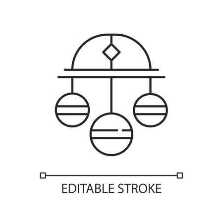Pawn symbol linear icon. Three spheres suspended from bar. Monetary success symbol. Thin line customizable illustration. Contour symbol. Vector isolated outline drawing. Editable stroke