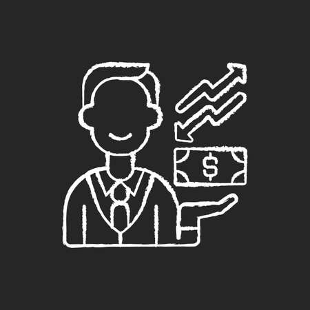 Equity chalk white icon on black background. Ownership of assets that may have debts or liabilities attached to them. Different methods used for accounting. Isolated vector chalkboard illustration