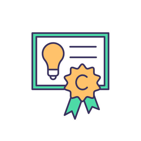 Copyright RGB color icon. Intellectual property law. Rights protection. Mental-work products, inventions. Patents, trademarks. Mind and proprietary knowledge property. Isolated vector illustration