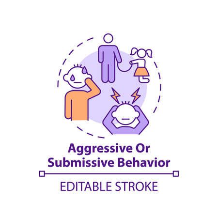 Aggressive or submissive behavior concept icon. Sign of domestic abuse, parental neglect. Child safety idea thin line illustration. Vector isolated outline RGB color drawing. Editable stroke Vecteurs