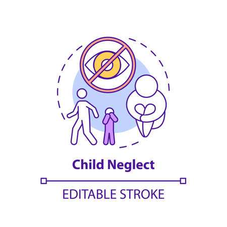 Child neglect concept icon. Kid mistreatment. Poverty problem. Parental negligence. Child safety idea thin line illustration. Vector isolated outline RGB color drawing. Editable stroke Vecteurs