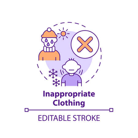 Inappropriate clothing concept icon. Sign of parental neglect. Damage to kids health, wellbeing. Child safety idea thin line illustration. Vector isolated outline RGB color drawing. Editable stroke