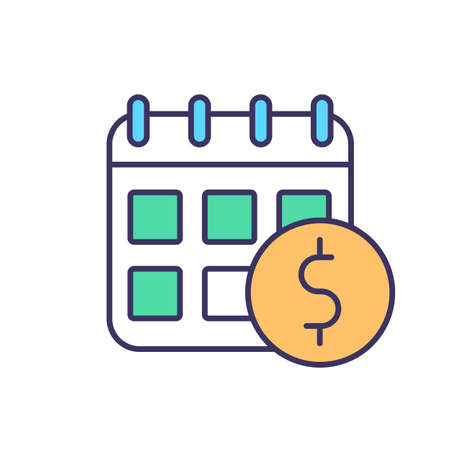 Payment schedule RGB color icon. Dates for taxes and fees. Asset purchase date. Calendar reminders. Tax deadlines. Avoiding penalty and interest charges. Isolated vector illustration