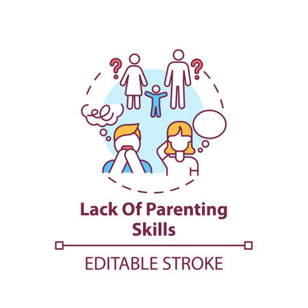 Lack of parenting skills concept icon. Problem with raising children. Kid abuse. Parental neglect. Child safety idea thin line illustration. Vector isolated outline RGB color drawing. Editable stroke  イラスト・ベクター素材