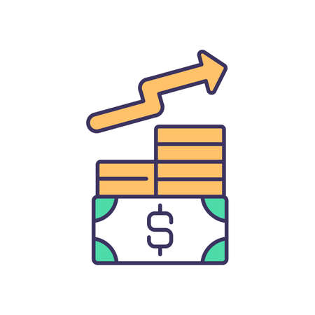 Income generating assets RGB color icon. Increasing revenue. Investing for income. Raising prices. Promoting increase in profit margin. Business wealth growth. Isolated vector illustration
