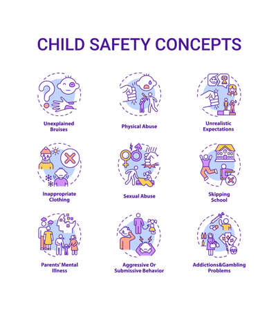 Child safety concept icons set. Parental neglect. Domestic abuse. Children welfare. Kids protection idea thin line RGB color illustrations. Vector isolated outline drawings. Editable stroke