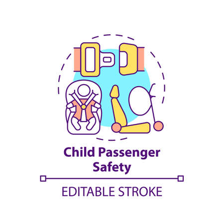 Child passenger safety concept icon. Toddler protection in car. Driving baby with seatbelt. Child safety idea thin line illustration. Vector isolated outline RGB color drawing. Editable stroke  イラスト・ベクター素材