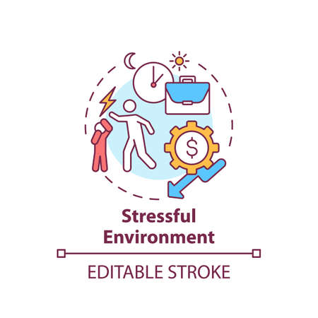Stressful environment concept icon. Domestic violence. Emotional abuse at home. Child safety idea thin line illustration. Vector isolated outline RGB color drawing. Editable stroke