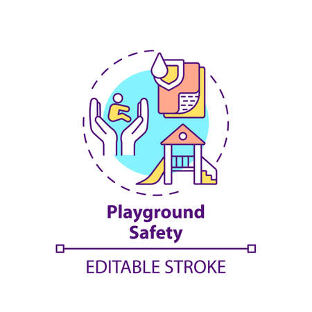 Playground safety concept icon. Secure environment for children to play. Outdoors area. Child safety idea thin line illustration. Vector isolated outline RGB color drawing. Editable stroke