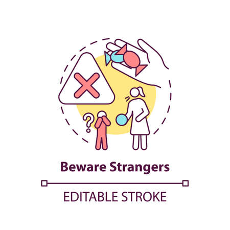 Beware strangers concept icon. Dangerous unknown person. Teach kid cautious behavior. Child safety idea thin line illustration. Vector isolated outline RGB color drawing. Editable stroke