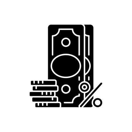 Surcharge black glyph icon. Extra fee and tax. Selling price percentage. Good and service cost additional charge. Checkout fee. Silhouette symbol on white space. Vector isolated illustration