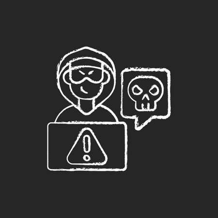 Cyberstalking chalk white icon on black background. Stalking online from anonymous person. Online hate. Internet hate comments from troll, harasser. Isolated vector chalkboard illustration