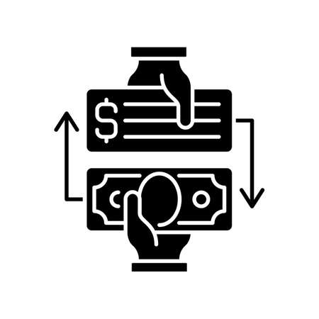 Paid check cashing black glyph icon. Cashing checks without bank account. Obtaining money instantly. Transferring money. Paying bills. Silhouette symbol on white space. Vector isolated illustration
