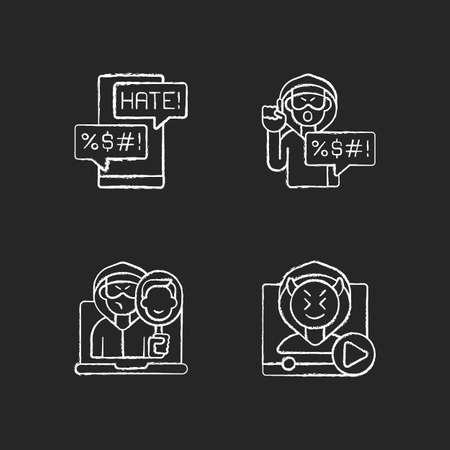 Online bullying chalk white icons set on black background. Messenger cyberbullying. Hate speech. Video shaming. Online impersonation. Offensive comments. Isolated vector chalkboard illustrations