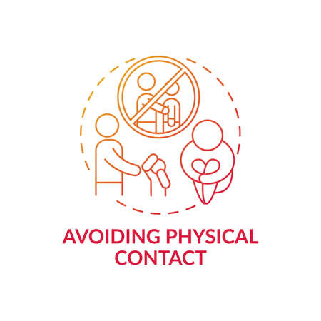 Avoiding physical contact red gradient concept icon. Sign of domestic violence. Symptom of abuse in children. Child safety idea thin line illustration. Vector isolated outline RGB color drawing Vecteurs