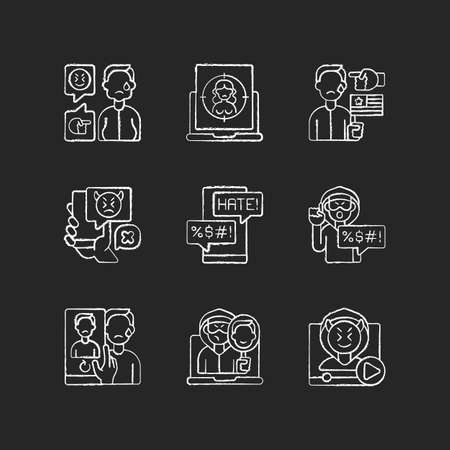 Online harassment and bullying chalk white icons set on black background. Weight-base cyberbullying and bodyshaming. Internet sexual harassment. Isolated vector chalkboard illustrations