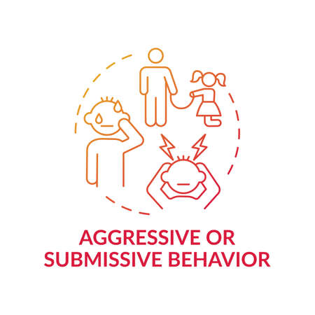 Aggressive or submissive behavior red gradient concept icon. Sign of domestic abuse, parental neglect. Child safety idea thin line illustration. Vector isolated outline RGB color drawing