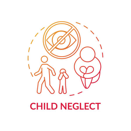 Child neglect red gradient concept icon. Kid mistreatment. Poverty problem. Parental negligence. Child safety idea thin line illustration. Vector isolated outline RGB color drawing