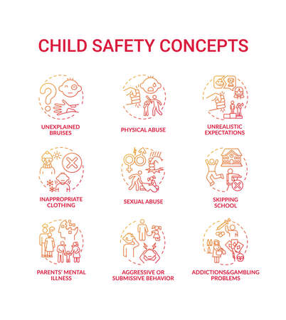 Child safety red gradient concept icons set. Parental neglect. Domestic abuse. Children welfare. Kids protection idea thin line RGB color illustrations. Vector isolated outline drawings Vector Illustration