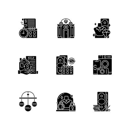 Pawnbrokery black glyph icons set on white space. Time limit. Upscale pawnshops. Product valuable. Collateral. Regular payments. Pledge safety. Silhouette symbols. Vector isolated illustration