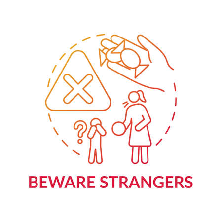 Beware strangers red gradient concept icon. Dangerous unknown person. Teach kid cautious behavior. Child safety idea thin line illustration. Vector isolated outline RGB color drawing