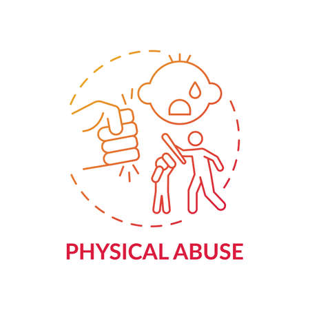 Physical abuse red gradient concept icon. Parent hit kid. Physical violence at home. Harm to children's health. Child safety idea thin line illustration. Vector isolated outline RGB color drawing Vector Illustration