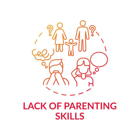 Lack of parenting skills red gradient concept icon. Problem with raising children. Kid abuse. Parental neglect. Child safety idea thin line illustration. Vector isolated outline RGB color drawing  イラスト・ベクター素材