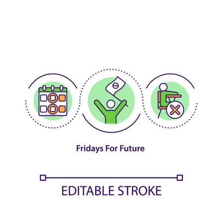 Fridays for future concept icon. School ecological activism idea thin line illustration. Global warming problem. Vector isolated outline RGB color drawing. Climate justice. Editable stroke Ilustração