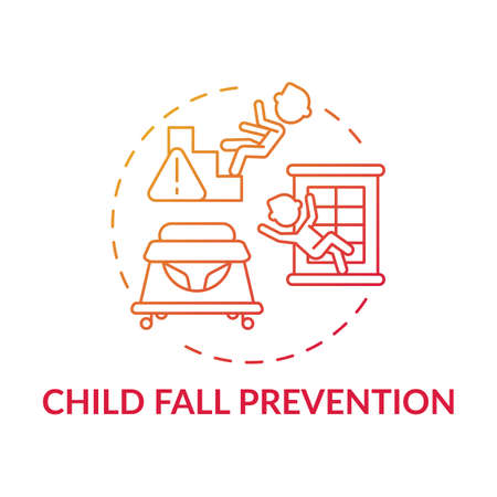 Child fall prevention red gradient concept icon. Kid trauma and injury precaution. Children protection. Child safety idea thin line illustration. Vector isolated outline RGB color drawing