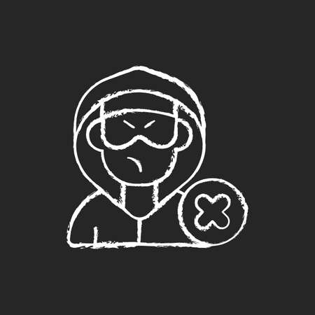 Block or mute harasser chalk white icon on black background. Ban internet troll. Cyberbullying and cyberharassment. Prevent assault. Abuse precaution. Isolated vector chalkboard illustration Illustration