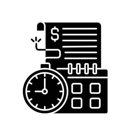 Time limit black glyph icon. Repaying by stated date. Loans with term lengths. Monthly payments. Interest costs. Penalties, fees. Silhouette symbol on white space. Vector isolated illustration
