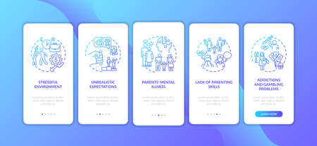 Emotional abuse from parents dark blue onboarding mobile app page screen with concepts. Child safety walkthrough 5 steps graphic instructions. UI vector template with RGB color illustrations