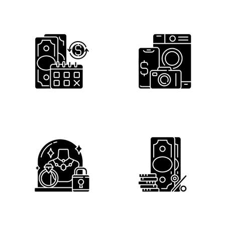 Loan office black glyph icons set on white space. Regular payments. Pawn item. Pledge safety. Surcharge. Coverage term. Materialistic value. Silhouette symbols. Vector isolated illustration Illustration