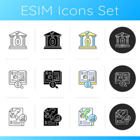 Accounting icons set. Increasing cash assets of your business. Mananging bank account of company. Cash flow view. Linear, black and RGB color styles. Isolated vector illustrations