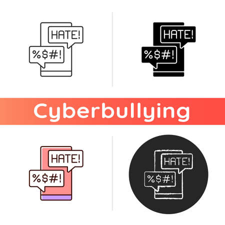 Messenger cyberbullying icon. Hate comments. Email with offensive content. Mail attack on social media account. Cyberbullying. Linear black and RGB color styles. Isolated vector illustrations Illustration