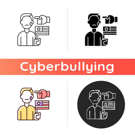Political cyberbullying icon. Offensive comment. Victim of discrimination. Shaming for politics. Cyberharassment and online hate. Linear black and RGB color styles. Isolated vector illustrations