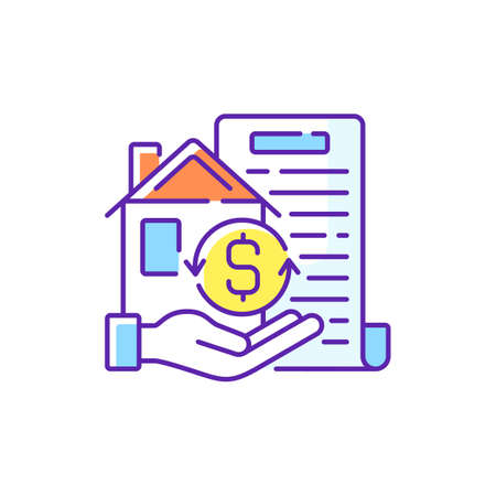 Collateral RGB color icon. Security for loan repayment. Real estate and assets form. Valuable property. Protection for lender interests. Tangible, intangible asset. Isolated vector illustration