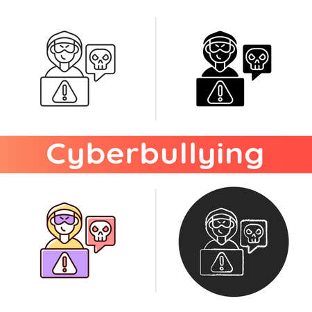 Cyberstalking icon. Stalking online from anonymous person. Online hate. Internet hate comments. Cyberbullying, cyberharassment. Linear black and RGB color styles. Isolated vector illustrations