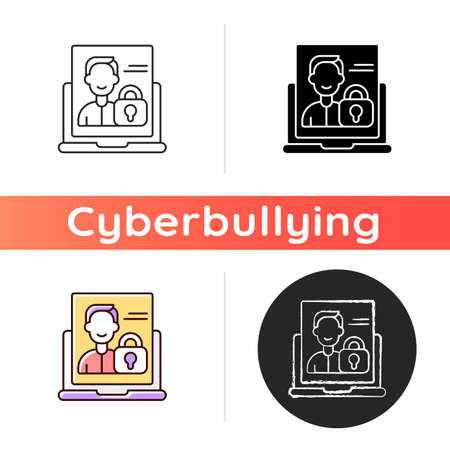 Make account private icon. Privacy settings for user profile. Online presence in social media. Registration on platform. Linear black and RGB color styles. Isolated vector illustrations