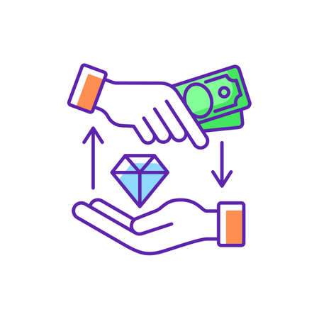 Money loan RGB color icon. Borrowing cash. Financial aid. Lending money at interest. Receiving funds secured by property. Loan principal amount plus interest repayment. Isolated vector illustration