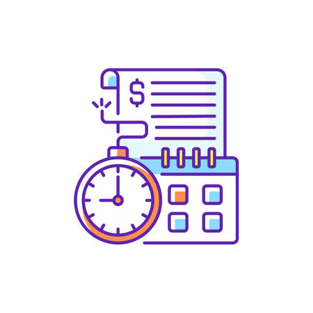 Time limit RGB color icon. Repaying by certain, stated date. Loans with term lengths. Monthly payments. Interest costs. Penalties and interest charges. Time loan terms. Isolated vector illustration