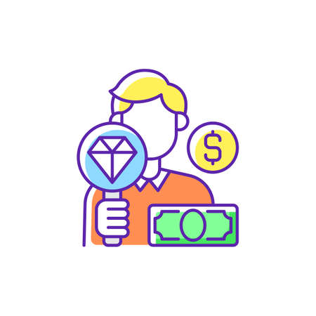 Pawnbroker RGB color icon. Lending money in exchange for personal property. Pledge and pawn. Offering secured loans to people. Selling items. Buying jewelery and antique. Isolated vector illustration