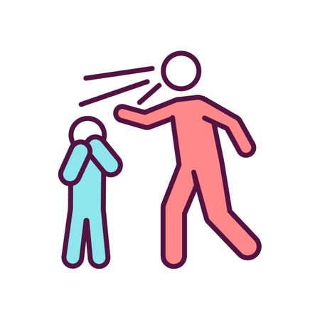 Parent scream at child RGB color icon. Father yell at son. Mother shout at daughter. Domestic violence. Emotional abuse. Child maltreatment. Parental neglect. Isolated vector illustration