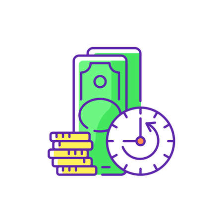 Extension RGB color icon. Skipping certain immediate payments. Increasing original maturity loan date. Additional facility to existing loan. Repayment terms. Isolated vector illustration Иллюстрация
